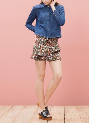 Юбка под джинс с воланами и цветочным принтом stradivarius рр 34 новая