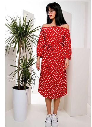 Червоне плаття в горошок міді