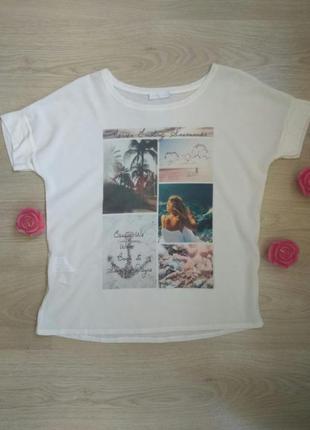 Белая футболка французского бренда с морским принтом promod уценка