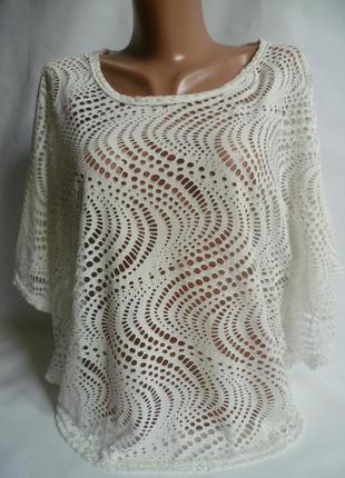 Белая красивая ажурная  блуза