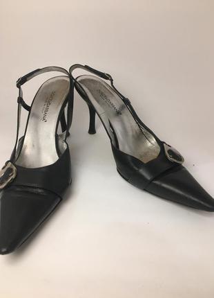 Оригинал dolce gabbana dg босоножки чёрные с острыми носками на среднем каблуке