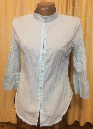Хлопковая легкая рубашка s-l с воротником-стойкой