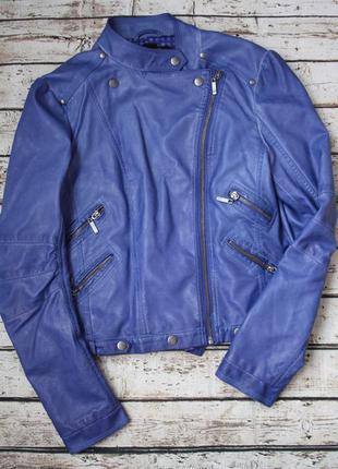 Синяя косуха из экокожи