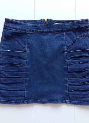 Джинсовая юбка мини с драпировкой