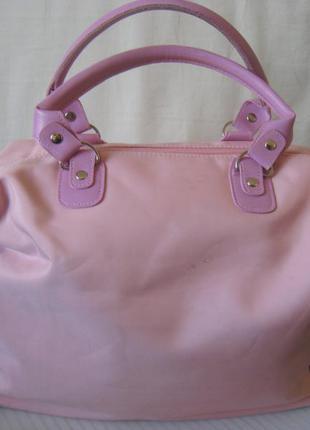 Сумка розовая сиреневые ручки