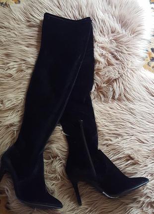 Черные ботфорты, сапоги, замшевые ботфорты, бархатные ботфорты