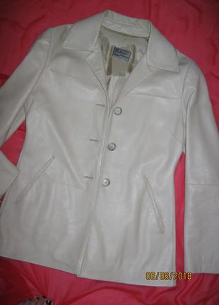 Натуральный кожаный пиджак куртка тренч нюд