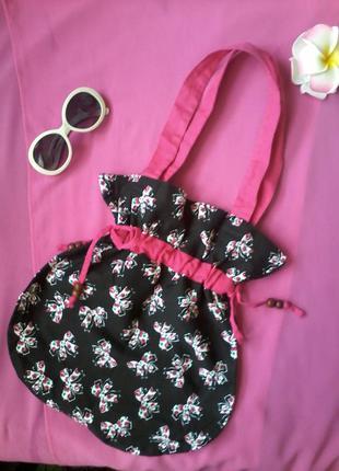 Брендовая сумка черная с розовыми бантиками летняя хлопковая atmosphere