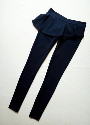 Темно-синие узкие в облипку брюки с юбкой oodji