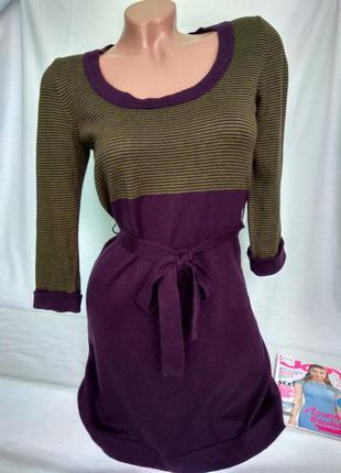Теплое короткое платье с пояском c ангоровой нитью р. s/m-36/38, от mango collection