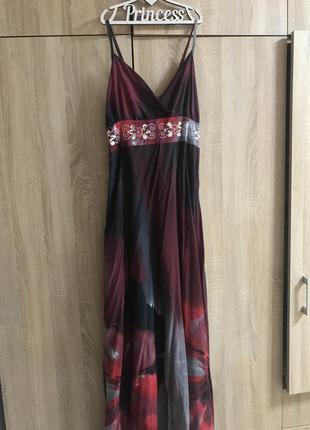 Сарафан темно бордовый, платье в пол длинное, летнее