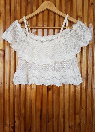 Воздушная гипюровая, кружевная блуза h&m.