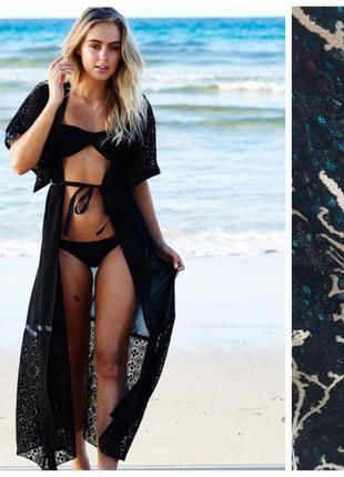 Кружевное пляжное платье накидка парео размер м-хл