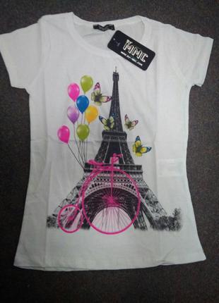 Романтичная белая футболка#эйфелевая башня# бабочки#воздушные шарики р.42