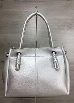 Серебристая молодежная сумка шоппер через плечо с оригинальными ручками