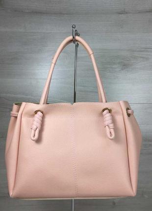 Розовая женская летняя сумка шоппер с ручками на плечо