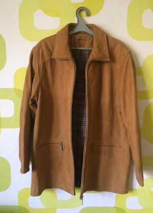 Шикарная кожаная куртка raberg burberry размер l-xl набук