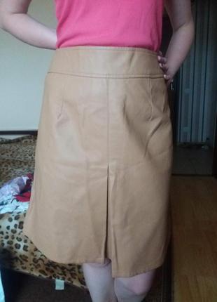 Новая светлая кожаная юбка трапеция миди e-vie 14 р!