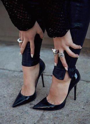 Женские чёрные лаковые классические туфли лодочки на шпильке beauty girl's.