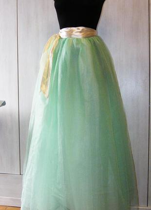Мятная юбка пачка в пол с атласным айвори поясом