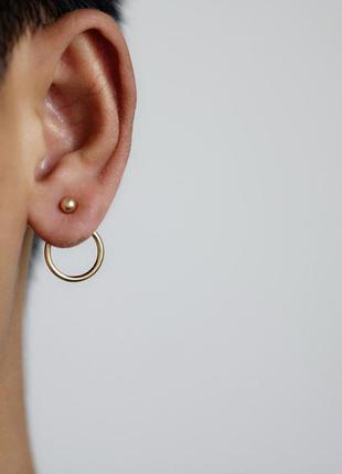 Маленькие серьги джекеты в виде кольца, в золотом цвете