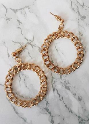Длинные объемные висячие серьги с кругами, золотые