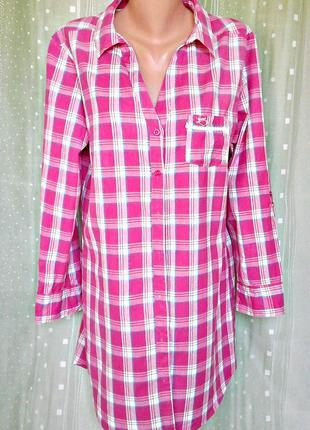 Удлиненная домашняя рубашка в яркую клетку, 100% хлопок