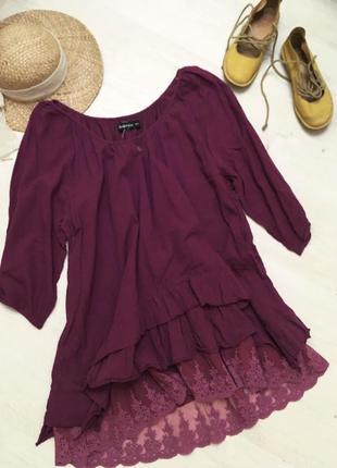 Бохо платье марсала  туника длинная блуза бохо кружева оверсайз от s до xl
