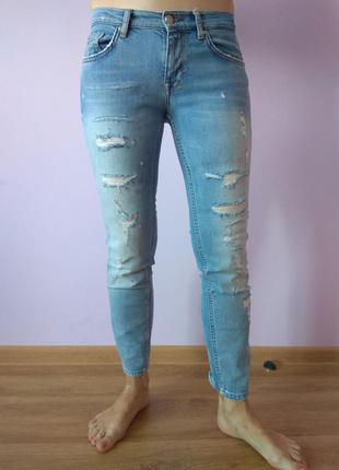 Рваные тёртые джинсы скинни zara размер s