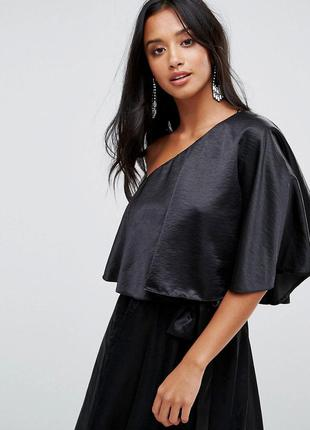 John zack сатинова елегантна маленька чорна сукня