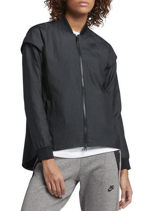 Крутейшая ветровка-трансформер (куртка/жилет) nike, s. чёрная эффект плиссе. оригинал лето