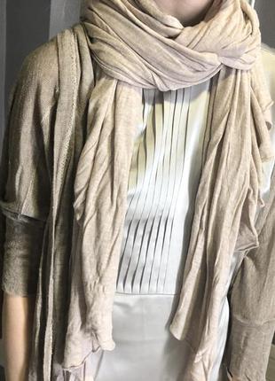 Кофта трикотаж и шарф оверсайз трикотаж бежевый