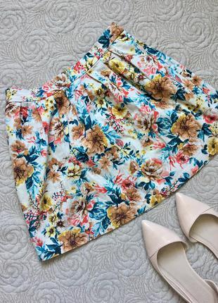 Яркая мини юбка колокольчик в цветочный принт