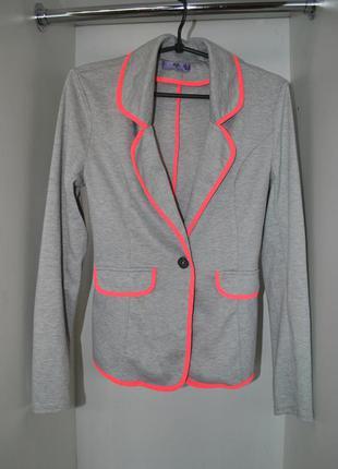 Пиджак германия ajs серый ярко оранжевый s стильный модный крутой жакет
