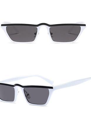 Белые узкие очки sci-fi с чёрной полосой