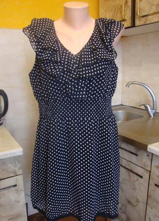 Платье черное в белый горошек lej look размер 16 l/xl