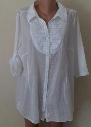 Белая блуза -рубашка большого размера
