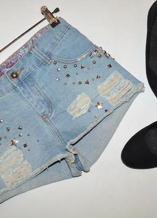 Джинсовые шорты, шорты из денима с заклепками denim co