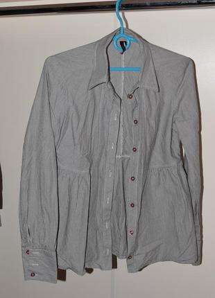 Новая рубашка  в полоску черно-белую topshop