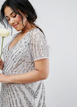 Asos plus size lovedrobe luxe роскошное блестящее макси-платье 6xl