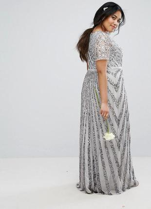 Asos plus size lovedrobe luxe роскошное блестящее макси-платье 6xl3