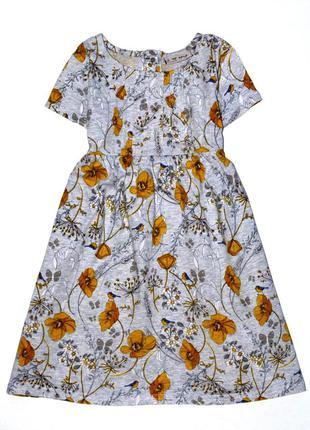 Обалденное платье с птичками и цветами