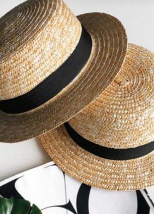 Соломенная шляпа канотье (натуральная солома, отличное качество)