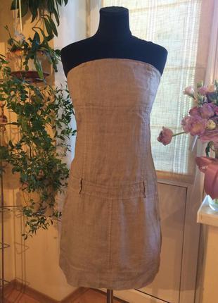 Льняное летнее платье, сарафан. заниженная линия талии. натуральный лен. италия.