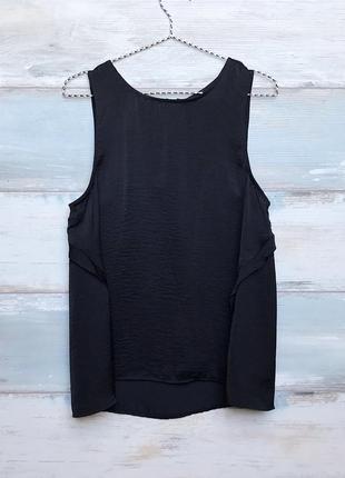 Черная шифоновая свободная майка блуза топ pull&bear