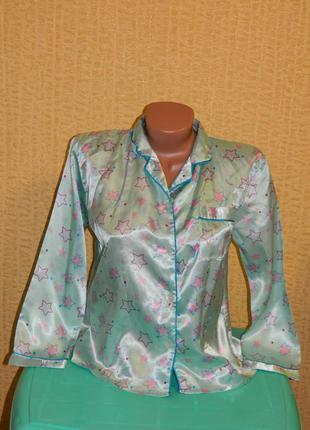Кофта шелковая пижамная со звездами на девочку подростка 11-12 лет pyjamas