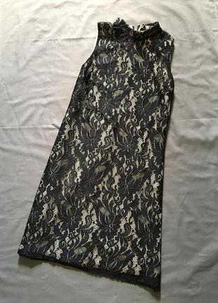 Кружевное черно-бежевое платье трапеция