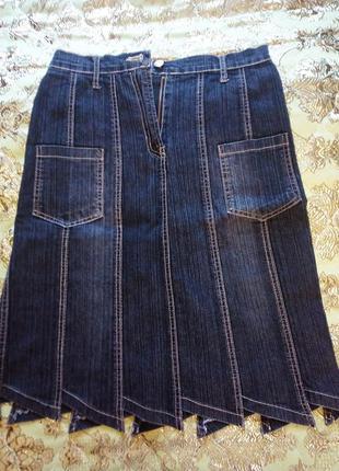 Джинсовая юбка клиньями