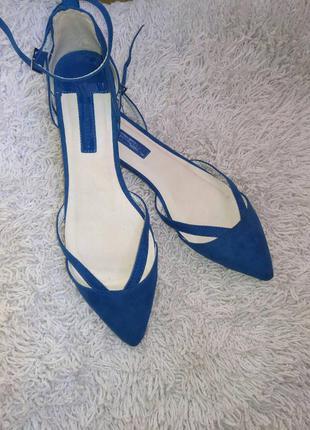 Замшеві балетки синього кольору, dorothy perkins.