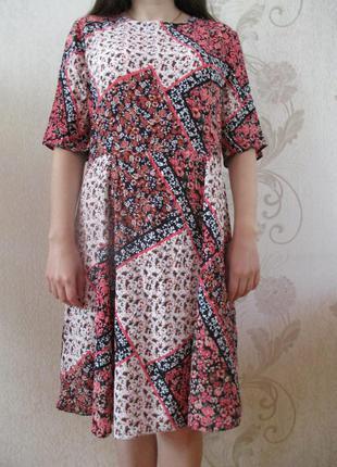 Платье в принт/печворк/100% вискоза/l-xl